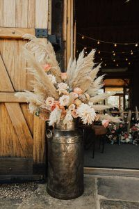 Boho Barn Wedding in Rue De Seine - milk churns from filled with amazing by The Great Little Flower Company Country Wedding Photos, Country Wedding Dresses, Country Weddings, Winter Barn Weddings, Cowboy Weddings, Barn Wedding Centerpieces, Southwestern Wedding, Wedding Ceremony Flowers, Aisle Flowers
