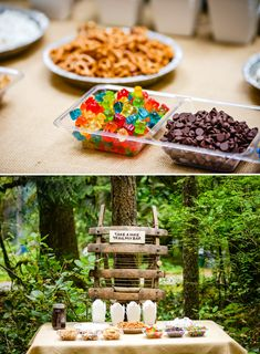 Boys Camping Birthday {Party in the Woods!} Trail Mix Bar:  Mix up your own trail mix in Chinese takeout boxes