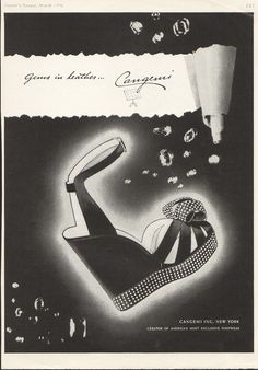 Cangemi. USA. Harper's Bazaar, March, 1946.  (looks like todays style) 40s print ad shoes platform sandals