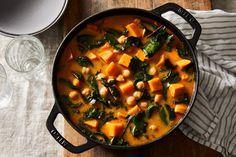 Sweet Potato Stew With Chickpeas & Hardy Greens Recipe on Food52, a recipe on Food52 Chickpea Recipes, Healthy Recipes, Sweet Potato Stew Recipe, Soup Recipes, Cooking Recipes, Food52 Recipes, Slow Cooking, Free Recipes, Homemade Chicken Stock
