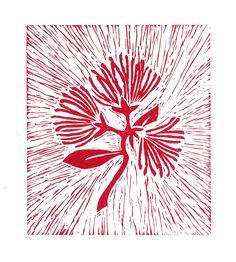 pohutukawa   linoprint   2013