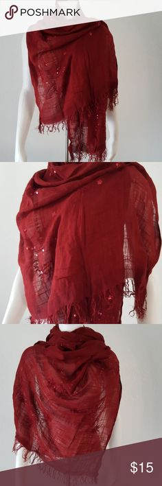 """Large Dark Red Scarf Wrap Hijab frm Egypt Sequins Gorgeous! Dark brick red color with embroidery and sequins throughout. Measures approx. 27"""" wide by 60"""" long. Accessories Scarves & Wraps"""