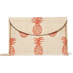 Kayu Pineapple embroidered woven straw clutch (€125) ❤ liked on Polyvore featuring bags, handbags, clutches, pink clutches, pink handbags, embroidered purse, straw clutches and woven straw handbags