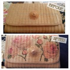 This one is my decoupage on plain rattan clutch.
