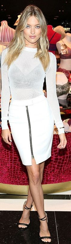 Who made Martha Hunt's black sandals and white zipper skirt?