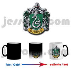 Taza mágica magica mug harry potter slytherin escudo casa hogwarts magia 325ml