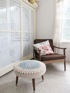 crochet stool cover (no pattern) #crochet #diy