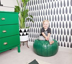 Colorful and Modern Toddler Room - how great is this bold black and white wallpaper accent wall?!