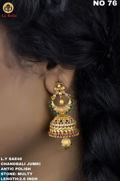 Beautiful one gram gold jumkhi studded with pink and green color stones. Gold Earrings Designs, Gold Jewellery Design, Necklace Designs, Gold Jewelry, Beaded Jewelry, Gold Designs, Silk Bangles, South Indian Jewellery, Necklace Set