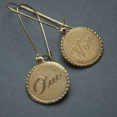 Larissa Loden Jewelry - Oui and Non Earrings, $20.00 (http://www.larissaloden.com/oui-and-non-earrings/)