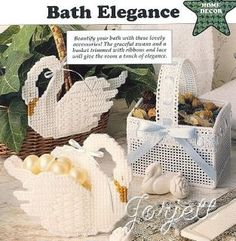 Bath Elegance (for basket, cut 2 long sides threads, 2 short sides threads, bottom threads and handle threads Plastic Canvas Coasters, Plastic Canvas Tissue Boxes, Plastic Canvas Crafts, Plastic Canvas Patterns, Patterned Sheets, Flower Girl Basket, Leather Bags Handmade, Fabric Painting, Homemade Gifts