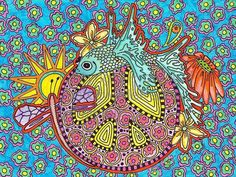 ☮ American Hippie Art ☮ Peace Sign .. Singleton