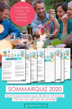 """En riktig klassiker från grapevine """"årets sommarquiz"""" Roliga och underhållande frågor på temat sommar blandat med mycket musik och finurliga följdfrågor. #quiz #sommarquiz #frågesport #festlekar #grapevine #sommarfest Grape Vines, Party, Tips, Alcohol, Musik, Vineyard Vines, Parties, Vines, Counseling"""