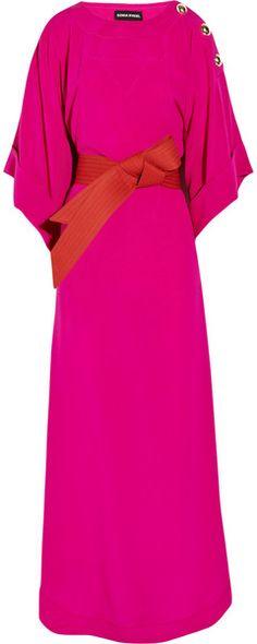 Sonia Rykiel Belted Silk Crepe De Chine Maxi Kaftan in Pink
