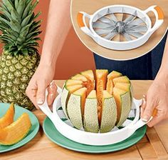 "Melon Slicer cores and cuts large fruits into 12 perfect segments with one simple motion! Handy, ergonomically-designed cutting tool easily, safely and cleanly slices watermelon, cantaloupes, honeydews, even pineapple. Just position and push! Durable stainless steel blades cut better than knives, while the easy-grip poly handles offer comfort. Dishwasher safe. 8-1/2"" diam.           $12.98"