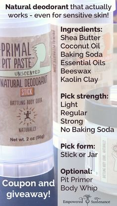 Primal Pit Paste Giveaway on Empowered Sustenance from August 28th to September 4th! @primalpitpaste