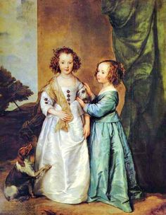 """1600s Anthony van Dyck (Flemish artist, 1599- 1641) Philadelphia and Elizabeth Wharton with their dog""."
