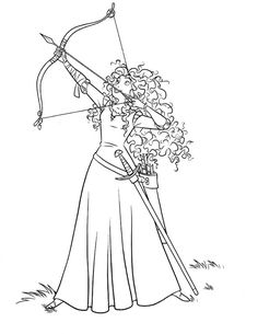 Brave, Merida Ready to Release an Arrow in Disney Brave Coloring Page: Merida Ready To Release An Arrow In Disney Brave Coloring PageFull Size Image