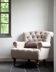This gorgeous neutral linen armchair would work with most room schemes. It has a deep seat which makes it the perfect armchair to curl up on. With its pretty button detail and beautiful curves it will add timeless chic to your room. Pair it with a matching sofa to complete the look. Love Cushion sold separately.
