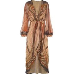Roberto Cavalli V-neck chiffon dress (49.520 RUB) ❤ liked on Polyvore featuring dresses, vestidos, haljine, abiti, brown, brown dresses, chiffon dresses, long puffy dresses, long slit dress and long brown dress