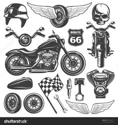 Motorcycle Black Isolated Icon Set With Recognizable Objects And Attributes Of Bikers Vector Illustration - 450783277 : Shutterstock