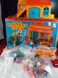Vintage Fisher Price Little People Western Town #934 SEALED Complete Box Horse  #FisherPrice