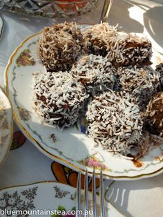 Round Australian Lamingtons at a private high tea for two, www.bluemountinai..., Blue Mountains Australia. Aussie High Tea.