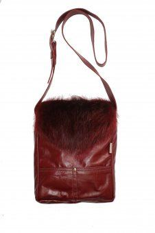 Cadeaux Tendance - Sac COLOMBE en Cuir et Castor teint rouge