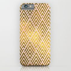 Gold foil triangles on pink  iPhone & iPod Case