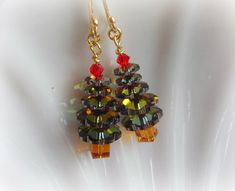 Christmas Jewelry Earrings - Swarovski Crystal Tree in Browns and Golds. $16.00, via Etsy.