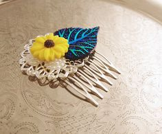 Handmade wedding hair comb clip resin leaf flowers roses vintage blue yellow sunflower white pearl wedding prom accessory hair piece bride - pinned by pin4etsy.com
