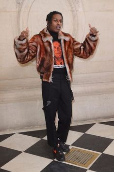 ASAP Rocky Wears Dior Homme Fur Jacket, Turtleneck Sweater, Pants and Nike x Vlone Sneakers | UpscaleHype