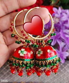 Gold Hoop Earrings, Gold Hoops, Indian Earrings, Enamel, Hand Painted, Pearls, Crystals, Stuff To Buy, Accessories
