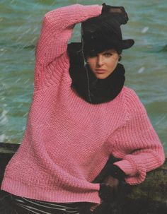 """Instant PDF Download Vintage Row by Row Easy Knitting Pattern for a Ladies Over-sized Baggy Fisherman's Rib Sweater Jumper Top Bust 34-44"""""""