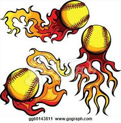 fastpitch clip art | Stock Illustration - Flaming Softballs with Flames Vecto. Clipart ...