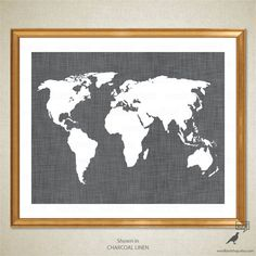Charcoal Linen World Map, Linen texture map print black and white decor rustic wall decor office wall art large world map bedroom wall decor...
