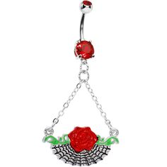 Red Rose Spider Web Dangle Belly Ring | Body Candy Body Jewelry