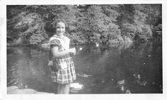 Black and White Vintage Snapshot Photograph Girl Feeding Ducks Smile 1950'S   eBay