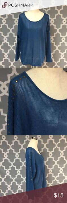 Derek Heart Plus Blue Studded Sweater 🔘Description Derek Heart Plus Blue Studded Sweater women's size 1x excellent used condition  🔘Measurements:  Pit to Pit:  25 inches       Shoulder to Hem: 27 inches                               Inventory: K    Thanks for stopping by! Derek Heart Sweaters