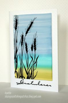 handmade card from stamps+ink=fun: Summer Breeze ...watercolor wash background with landscape bands of color ... wheat silhouted stamped in black ... like the look!!