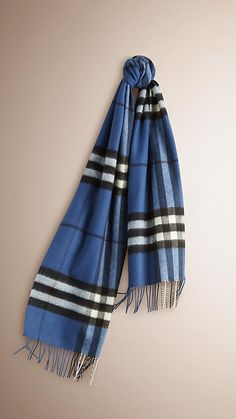 Cadet blue The Classic Cashmere Scarf in Check -  1