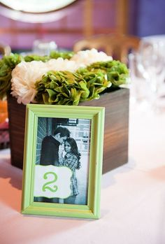table numbers with photos of couple. Instead of # maybe say location?