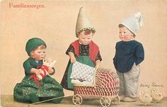 KATE KRUSE-PUPPEN personised dolls, German Set Comment OILETTE, come with & w/o card titles, same images, English back, OILETTE 8677 QUAINT LITTLE FOLK First Use:27/06/1915 Sold As:set of 6 cards Where Sold:Germany, Holland, France FAMILIENSORGEN doll-girl in green dress sits left cuddling doll, doll-girl in middle stands putting cover on pram, doll-boy stands right with hands in pockets