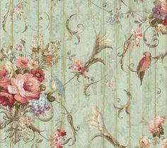 """12""""/31cm Wallpaper SAMPLE Bird Rose French Cottage Floral in Heimwerker, Farben, Tapeten & Zubehör, Tapeten & Zubehör   eBay"""