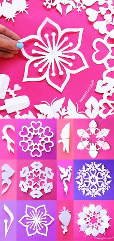 Make these DIY St Valentines Day Paper Snowflakes! Free patterns for Happythought members. Flower paper snowflakes, heart paper snowflakes, strawberry paper snowflakes, candy paper snowflakes and more! Paper Flowers Craft, Flower Crafts, Flower Paper, Snowflake Template, Snowflake Pattern, Valentines Day Decorations, Valentines Diy, Snow Flakes Diy, Crafts For Kids