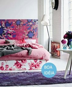 floral patterned bedroom