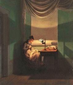 Georg Friedrich Kersting (Danish artist, 1785-1847) Young Woman Sewing 1823