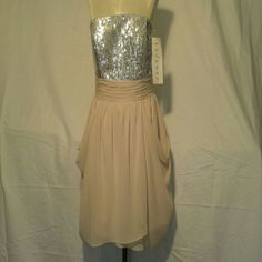 New strapless Bill Levkoff gown Cream and Silver sequence strapless gown. Bill Levkoff Dresses Strapless