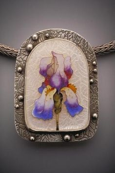 """Linda Lundell  -  The Blue Iris 1"""" x 2""""  Fine and sterling silver etched on front and reverse 24 carat gold cloisons"""