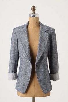 Cool and casual blazer in awesome chambray (love chambray). $88 from Anthropologie. A great blazer for those of us (ie. me) who feel awkward in regular, more structured professional blazers.